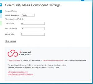 Ideas for Community Cloud Settings page