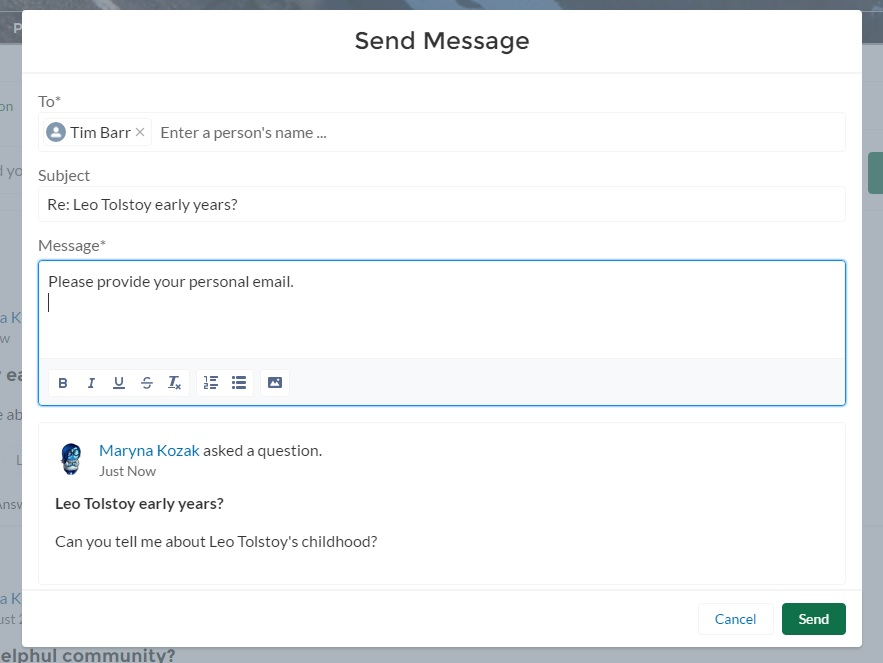 direct messages in salesforce community